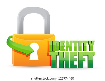 secured identity theft Gold lock illustration design over a white background