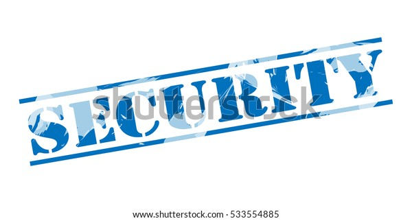 security blue stamp on white background
