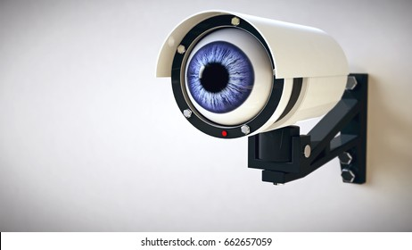 Security camera with blue eye. 3d illustration