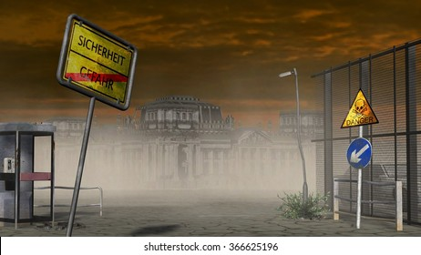Security / caos sign in Apocalyptic landscape - destroid city