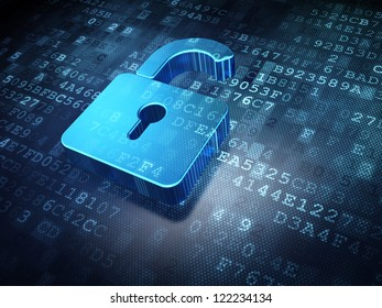 Security concept: blue opened lock on digital data background. Illustrates information systems security and data privacy. 3d render.