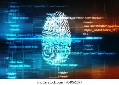Security concept: fingerprint Scanning on digital screen. 3d render