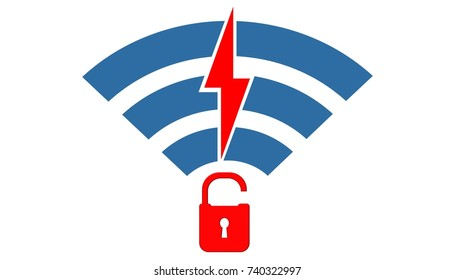Security concept: Open lock and wifi icon. Illustration of wifi vulnerability and cybersecurity compromised WEP, WPA, WPA 2 encryption. Krack is a serious threat for wifi internet connection