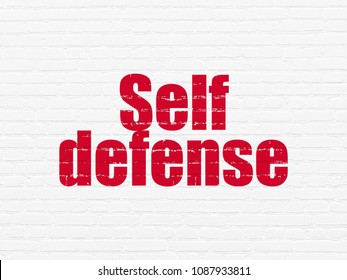 Security concept: Painted red text Self Defense on White Brick wall background