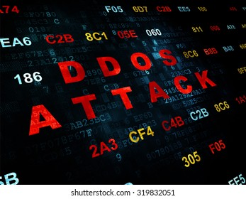 Security concept: Pixelated red text DDOS Attack on Digital wall background with Hexadecimal Code