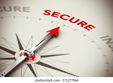 Security consulting concept, Compass needle pointing the word secure, red and brown tones with blur effect.