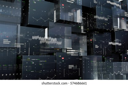 Security, innovation technology or programming abstract digital background. Sci-Fi futuristic user interface. 3D rendered computer graphic.