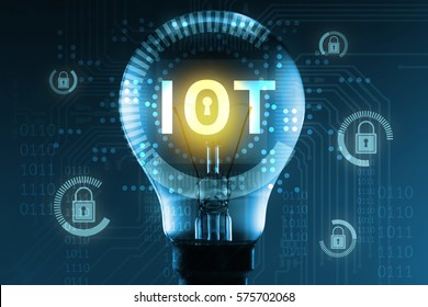 Security in Internet of things , iot and network connect concept. Light bulb , master key lock and electric circuit graphic