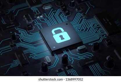 security lock symbol on circuit board.3d rendering,conceptual image.