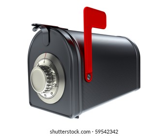 Security of mailbox. Steel mailbox with combination lock.