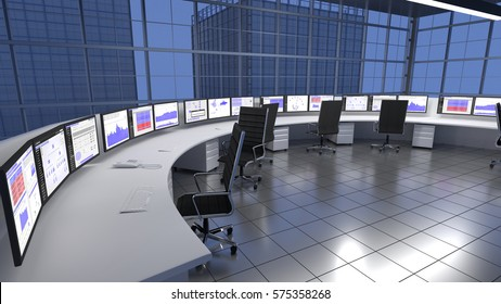 Security Operations Center SOC / Network Operations Center within a large sky scraper building. 3D render