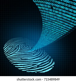 Security password personal identification safety login concept as a technology safety software as a human fingerprint with data code encryption emerging out in a 3D illustration style.