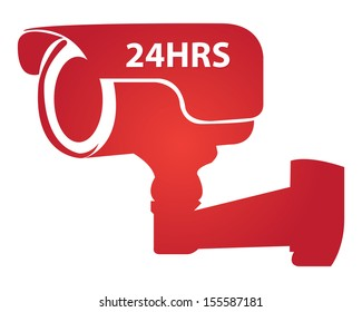 Security, Privacy or Top Secret Concept Present By Red Glossy Style 24HRS Surveillance Camera or CCTV Icon Isolated on White Background