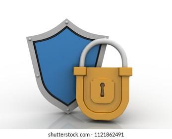 Security shield 3d illustration