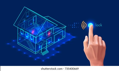 Security system of smart home. 3d house plan x-ray. Control locks the doors and windows over the internet with smartphone application. Home protection wireless system.