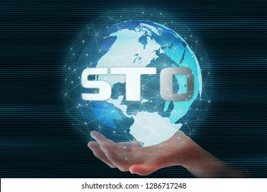 Security Token Offering (STO)  text on 3D Rendering futuristic globe sphere led surrounded by global network connection background. for crypto currency as an alternative to ICO. Token promotion