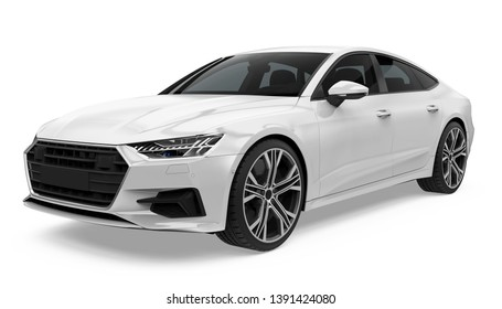 Sedan Car Isolated. 3D rendering