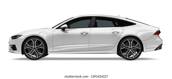 Sedan Car Isolated (side view). 3D rendering