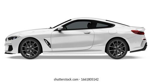 Sedan Car Isolated (side view). 3D rendering