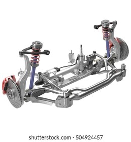 Sedan Front Axle isolated on white. 3D illustration