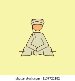 sedentary Arab colored field outline icon. Element of Arabian culture icon for mobile concept and web apps. Field outline sedentary Arab icon can used for web and mobile on yellow background