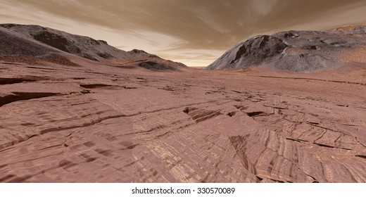 Sedimentary layered rock in dried-up Martian lake-bed