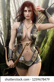 Seductive fantasy redhead female archer with bow and arrow drawing her weapon as she approaches the camera . 3d rendering