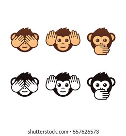 See no evil, hear no evil, speak no evil. Three wise monkeys icons. Color and black and white version.