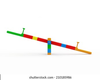 See Saw Swing on Children's Playground isolated on white background