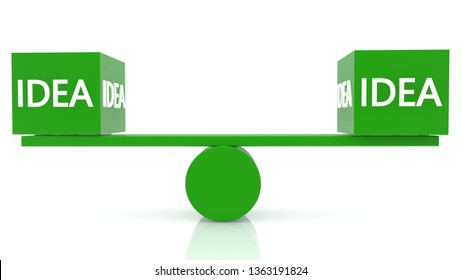 Seesaw balance with idea concept in green color.3d illustration