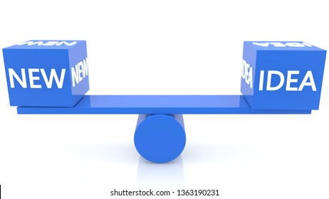Seesaw balance with new idea concept in blue colors.3d illustration