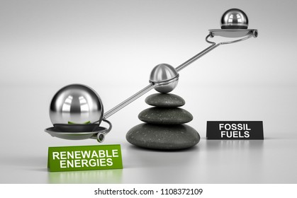 Seesaw containing big and small spheres inclined on the renewable energies side. Concept of energy transition. 3D illustration