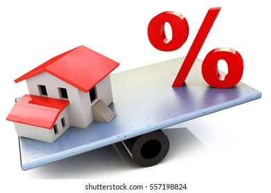 Seesaw with percent symbol and a house, isolated on white background in the design of information relating to commercial manipulation Estate. 3d illustration