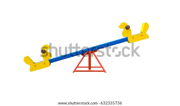 Seesaw in shape of birds for playground. Isolated on white background.3D illustration