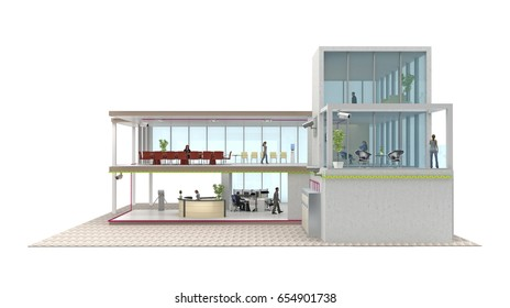 segment office building cutaway isolated on white. 3d rendering