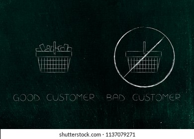 segmentation and marketing conceptual illustration: good vs bad customers with barred shopping cart next to another one