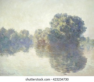 The Seine at Giverny, by Claude Monet, 1897, French impressionist painting, oil on canvas. In 1896, Monet set up a studio on flat-bottomed boat tied up near the bank to paint the Seine near his home