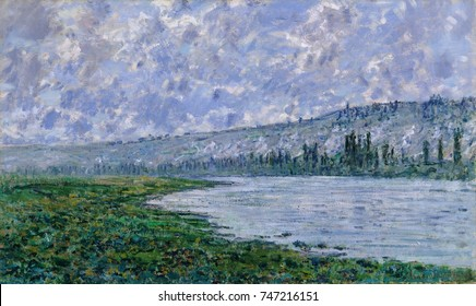 The Seine at Vetheuil, by Claude Monet, 1880, French impressionist painting, oil on canvas. Monet painted this work with a variety of brushstrokes, using broader strokes for the cloud, and horizontals