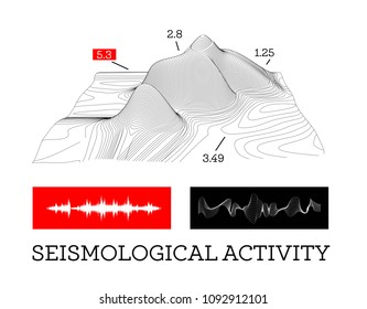 Seismic activity infographics illustration with sound waves, graphs and topological relief