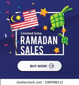 Selamat Bulan Puasa - Eid Ramadan Kareem and Hari Raya Aidilfitri Sales Design Concept with Malaysia Flag and Ketupat