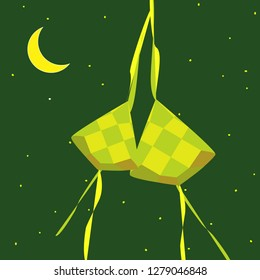 Selamat Hari Raya Aidilfitri greeting card. Hanging ketupat and crescent on green background.