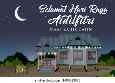 """Selamat Hari Raya Aidilfitri with Malay 3D Village House """"Rumah Kampung"""" and lemang"""