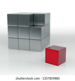 Selected Focus Business Cube Block. Isolated on White Background. 3D Rendering