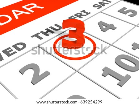 Selected Third Day Month Calendar 3 D Stock Illustration 639254299