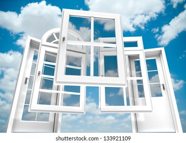 Selection of doors and windows with a blue sky on the background
