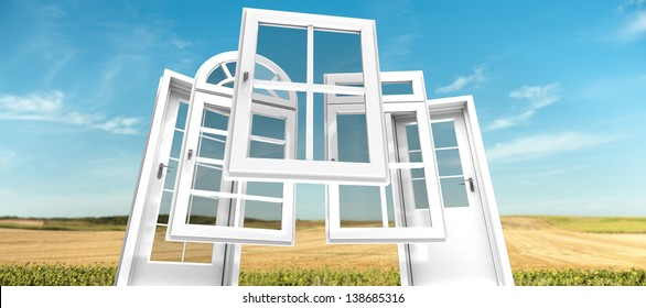Selection of doors and windows with a rural landscape on the background