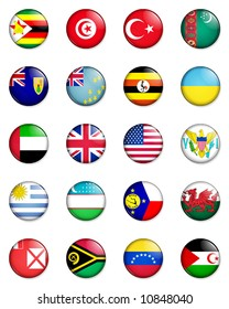 A selection of the flags of the nations of the world done in the style of small retro button badges.
