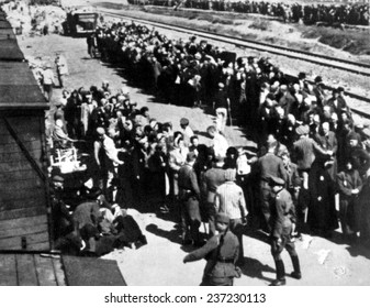 Selection and separation of prisoners at the Auschwitz-Birkenau concentration camp railway station in Poland, ca. 1944.