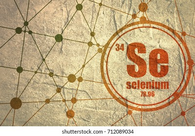 Selenium chemical element. Sign with atomic number and atomic weight. Chemical element of periodic table. Molecule And Communication Background. Connected lines with dots. Grunge distress texture.