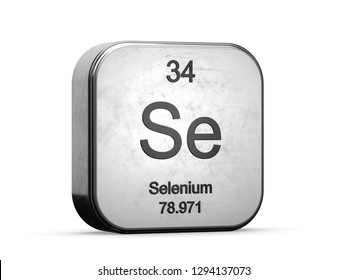 Selenium element from the periodic table series. Metallic icon 3D rendered on white background